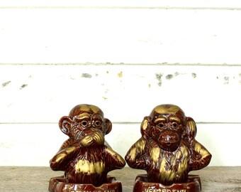 vintage monkey ashtray set . speak no evil monkey, hear no evil monkey ashtrays or incense holders, made in Japan by Anco