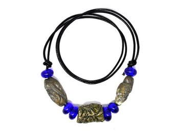 Handmade beads. Blue/nature/ goldish bead set /necklace/bracelet for vikings