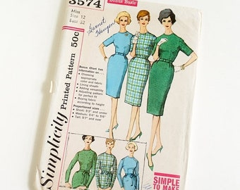 Shop SALE Vintage 1960s Womens Size 12 One Piece Slim Day Dress in Proportioned Sizes Simplicity Sewing Pattern 3574 UNCUT Complete / b32 w2