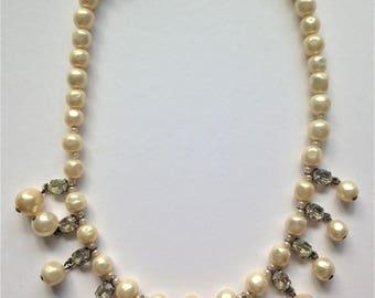 Vintage Faux Pearl Necklace, Rhinestone Necklace, Vintage Wedding, 1940's Necklace
