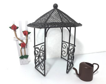 Miniature Gazebo Rose Trellis Watering Can Fairy Garden Set of 3 Metal Wire Primitive Rustic Terrarium Planter Supply Accessory - 585