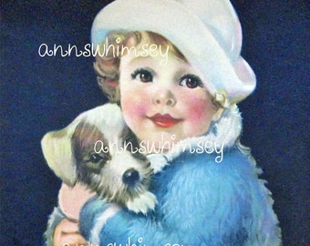"Little Girl's Room Art ~ Restored Antique Art ""Little Girl Blue"" (and dog) #544"