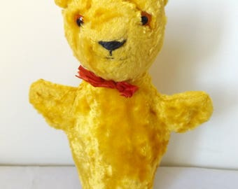 Lovely Vintage 1950's Yellow Teddy Bear Hand Puppet Toy.