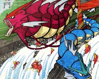 The Karp Jumps Through The Dragon's Gate - Poster Print