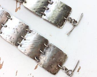I Only Have Eyes For You - Hammered Sterling Silver Squares Bracelet