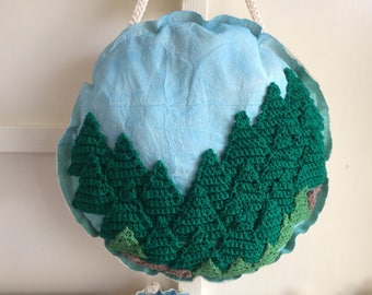 Nature Tree Textile Art, Wall Hanging, Calico, Wool, Padded, Round Art, Large, Gift
