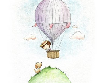 Vintage Style Hot Air Balloon Little Girl and Puppy Watercolor Print for Girls Room Decor