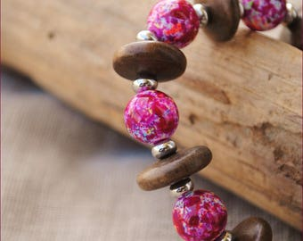 Pink and Brown nature bracelet