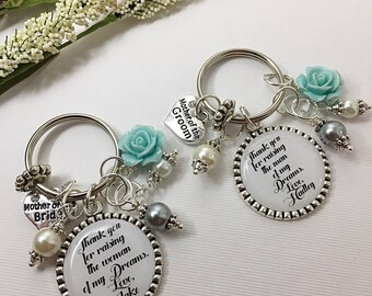 Mother of the Groom and Mother of the Bride Keychain Set Choose Rose Color Mother in Law Wedding Gift