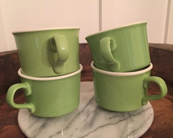 Vintage USA Pottery Spring Green Coffee Mugs Set of 4