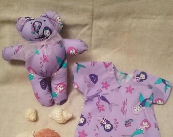 Mermaid print top & teddy 3-6 months