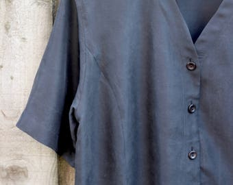 V Neck Silk Black Tunic Top