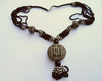 African necklace - clay pendant - nect19