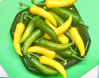 16 Chile Peppers Decorative Purpose Only Yellow Green Vegetable Table Display Fake Vegetables Veggies Kitchen Centerpiece Crafts DIY