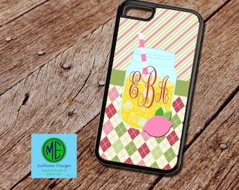 Preppy Mason Jar Monogrammed Phone Case. Lemonade Phone Case. Personalized Phone Case. Monogrammed Phone Case. iPhone, iPod, Samsung Cases