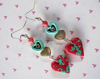 Pink, Aqua and Silver Valentine Heart Earrings (4212)
