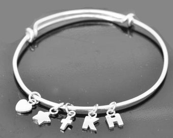 Adjustable Bangle, adjustable Jewelry, adjustable Bracelet, Sterling Silver Bangle, Sterling Silver Bracelet, initial, heart, star, cross