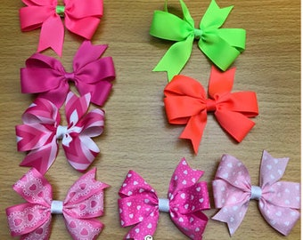 "Grab Bag Grab Bag 8 bows Handmade Pinwheel Hair Bows 4"" baby alligator clips goodie bags Spring Easter GIFT VALENTINE'S DAY"