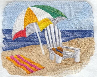 Beach Scene with Chair and Umbrella Embroidered Terry Bathroom  Hand Towel -- You Pick the Color----Free Shipping
