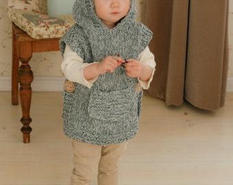 KNITTING PATTERN chunky hooded poncho Phoebe (toddler, child, adult sizes)