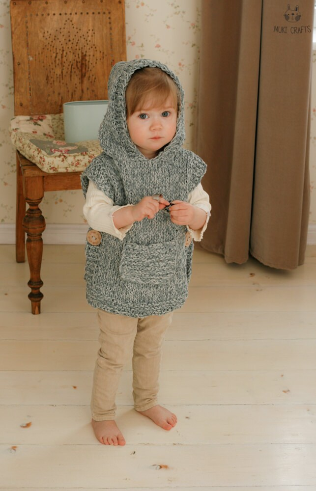 Knitting Pattern Chunky Hooded Poncho Phoebe Toddler Child Adult