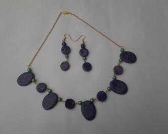 set: necklace and earrings purple and green