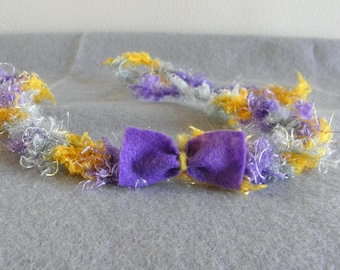 Baby headband halo tie back crochet yellow grey purple felt bow photography photo prop newborn toddler girl textured