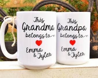 New GRANDMA or GRANDPA Mugs,This Grandma Belongs to, Gift from Grandchildren, Grandma Birthday Gift, Nana, Pop Pop, Mom Mom