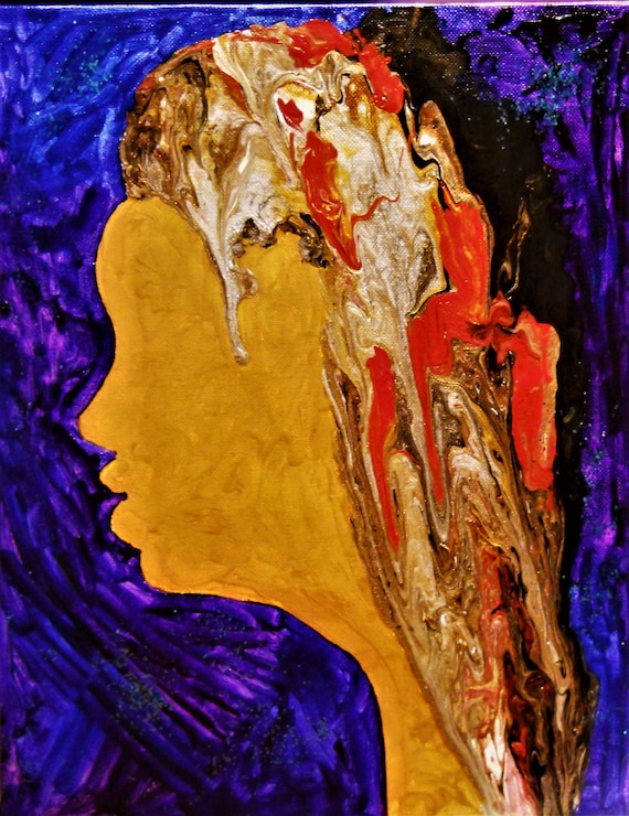 """INDIGENOUS, Acrylic Pour Portrait on 14 x 11"""" canvas panel, Outsider Folk Art, African American Folk Artist Stacey Torres"""