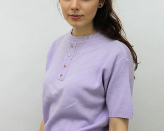 1980s Lilac Buttoned Sweater Size UK 10, US 6, EU 38