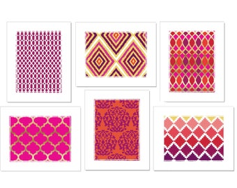 Colorful Ikat Art Set of 6 Prints - Red, Pink, Orange, Purple and Yellow