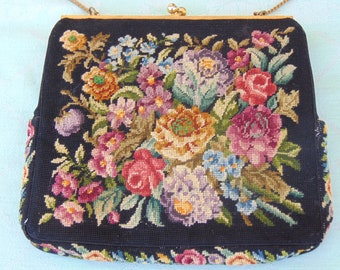 Italy Handbag, Vintage Tapestry Purse, Purses For Holidays, Weddings, Cruises, Derbies, Fall Fashion Bag, Needlepoint Handbags, Vintage Bags