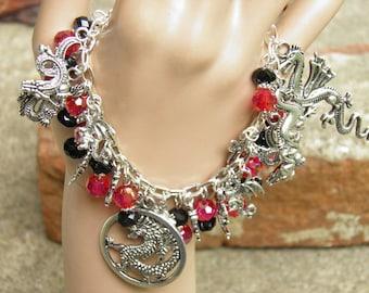 Game of Thrones Dragon Bracelet, Dragon Jewelry, Loaded Silver Dragon Charm Bracelet, Steampunk Jewelry, Larp,Game of Thrones Jewelry