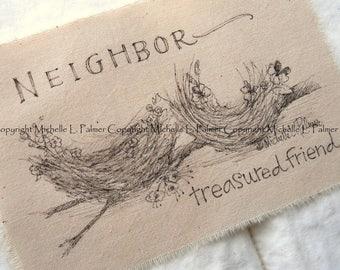Michelle Palmer Fine Art Ink Illustration on Tea Stained Muslin Cotton Spring bird Nests Viola Forget Me Not Neighbors Treasured Friend