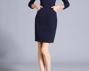 Office Wear Work Dress Women Office Pocket Dress Peter Pan Collar Dress Navy Blue Autumn Fall Dress Custom Sewing by ChiefLady CC392