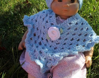 "Doll Poncho and Hat set - Pale Blue with White Rose - 18"" Doll Baby Doll"
