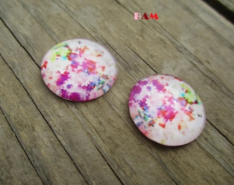 Set of 2 floral 25mm glass cabochons
