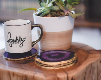 Agate Coasters  - Purple Geode Slice - (Set of 2, 4, 6, 8) Stone Coasters - Perfect Housewarming or Wedding Gift!