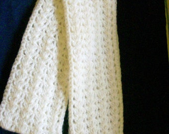 Crochet Lace Scarf Soft Mohair/Acrylic Blend Creamy White