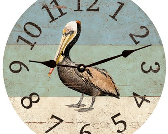 Pelican Beach Clock- Beach Themed Wall Clock