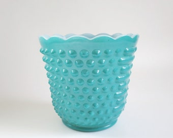 Turquoise Glass Hobnail Planter, Vintage Fire King Teal Glass Planter