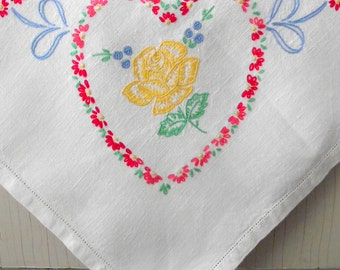 Vintage Embroidered Tablecloth | Hand Embroidered Hearts & Flowers | 33 x 31 Inch Floral Linen Tablecloth | Summer Table Decor