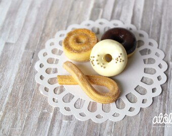 Set of Four 1:4 Miniature Donuts for BJD Dolls
