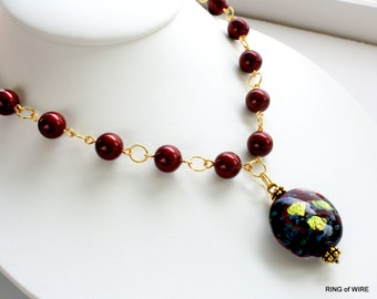 Burgundy Pearl Necklace, Glass Pearl Necklace, Dichroic Bead Pendant, Glass Bead Chain Necklace, Marsala Bead Necklace, Gold Link Necklace