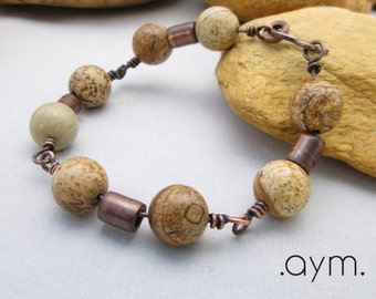 natural stone beaded bracelet, antique copper picture jasper chunky wire wrapped stone statement bracelet, earth tones primitive rustic