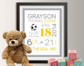 Birth announcement wall art, baby birth stats, birth stats wall art, baby subway art, personalized baby stats, birth art Baby Boy Gift 024