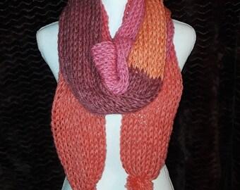 Orange red handknit scarf