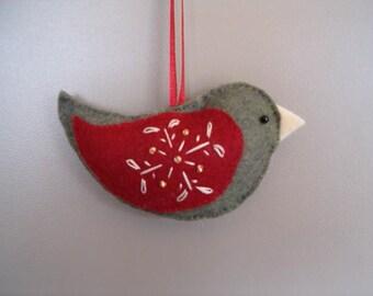 Felt Ornament - Bird - Olive Green with Burgundy Wing