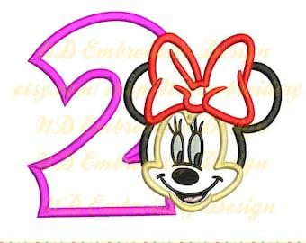 Minnie Maus Gesicht Stickerei Applikation 2. Geburtstag Design, Zahl 1-9-Auswahl, ms-038-2