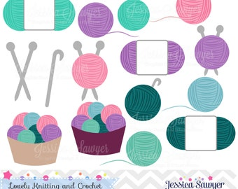 INSTANT DOWNLOAD, crochet and knitting clipart for commercial or personal use, logos, scrapbooking, and crafts